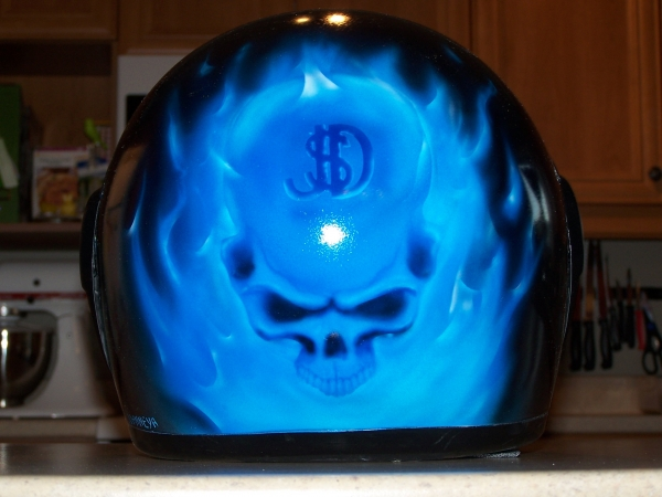 Blue Flames and Skull helmet