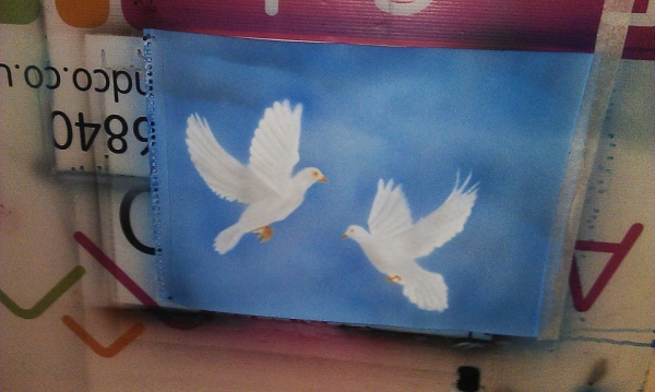 doves on airbrush paper
