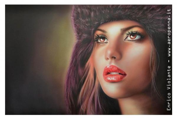 ritratto di modella....airbrush portrait, cm.40x60, e'tac color marissa series