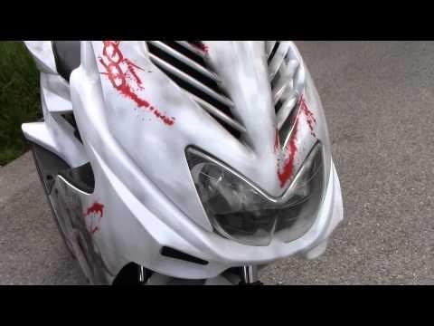 Scooter Bloody 300 Airbrush Custompaint - Roller Lackierung | Airbrush Motorradteile | Airbrush | SK-Brush - Fachgeschäft und Custompaint Studio für Airbrush  - Airbrush Videos