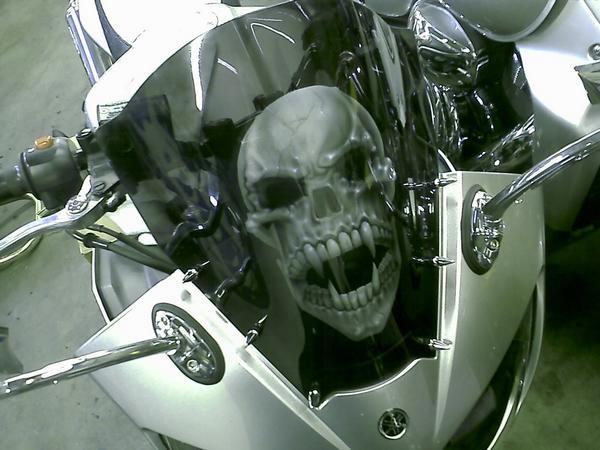 Airbrushed skull windscreen by Jonny5nLala