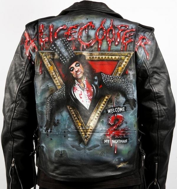Stunning Welcome 2 My Nightmare Leather Jacket By Danielle Vergne by Danielle Vergne - Airbrush Artwoks