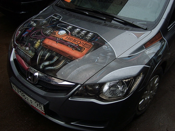 Honda Airbrush Bonnet - Aerografia su Gomme