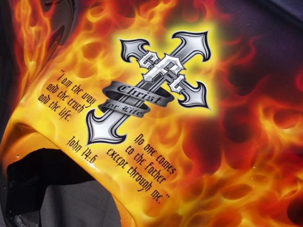 Christ For Life Motorcycle with RealFire – Custom Painted Vehicles