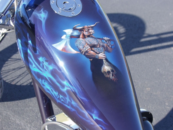 Blue Fire Chopper – Custom Painted Vehicles - Airbrush Artwoks