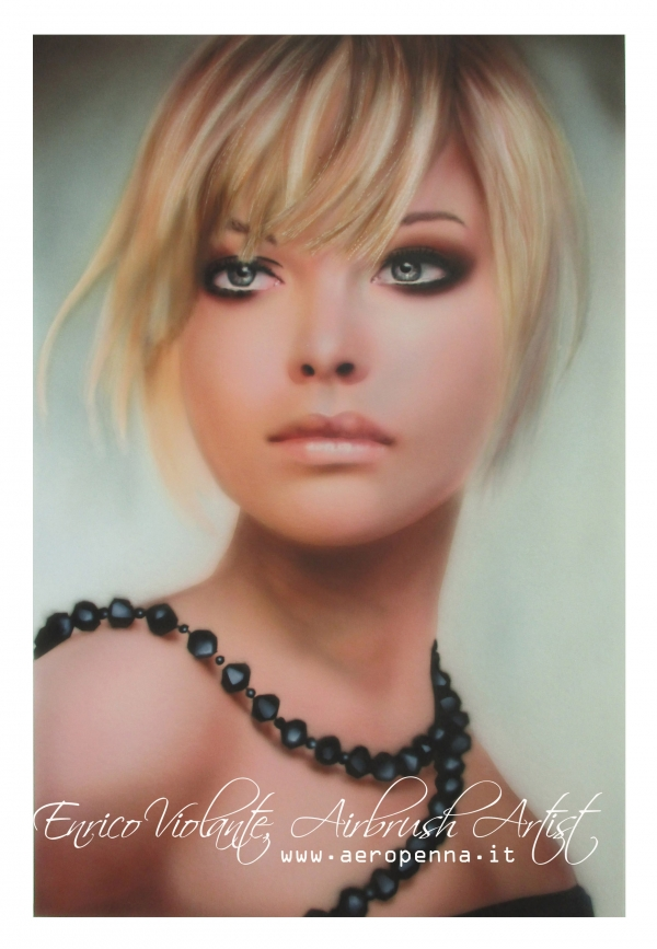 airbrush portrait on cardboard