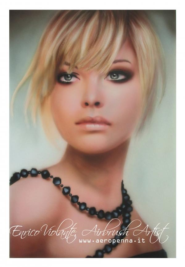 airbrush portrait on cardboard