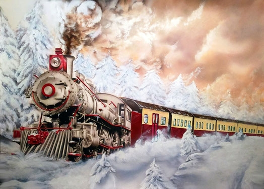 """""""Winterwonderland"""" Train in snow Published in the ASBS issue 40 01/16 This is sooooo amazing..... Full step article  Schoellershammer 70cm x 50cm"""