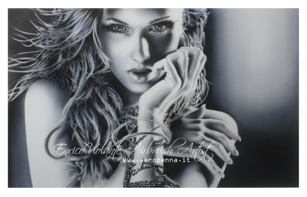monochromo parziale, airbrush on paper.