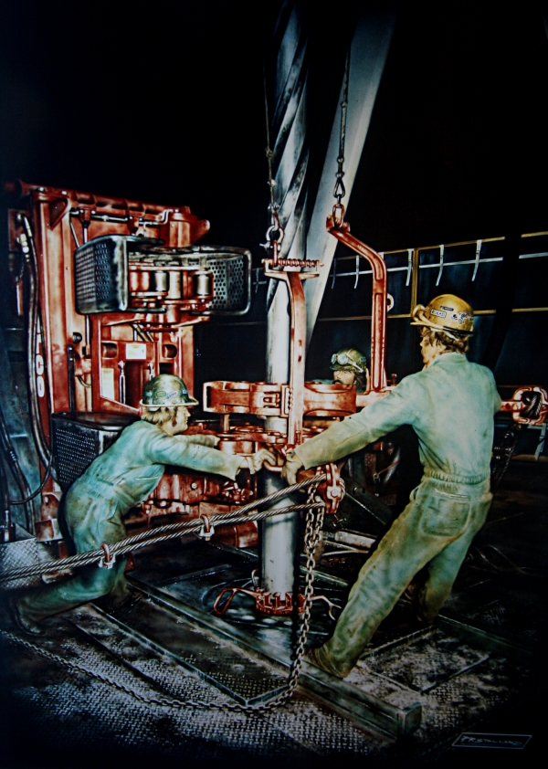 Airbrush illustration of roustabouts working night shift. Gouache on illustration board.