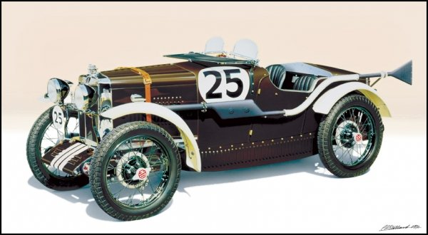 Airbrush illustration of MG Racer 1933.Gouache on illustration board. Just enough space for a short driver with no shoes and almost no room for a tiny co-driver !