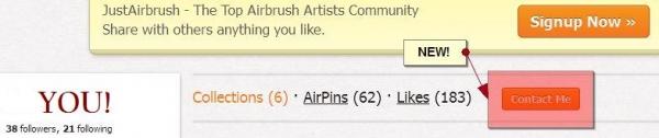 NEW! Da oggi, potete contattare gli ARTISTI, direttamente dal loro profilo! Un altra GRANDE Risorsa per tutti gli Utenti di JustAirbrush.com! Enjoy!