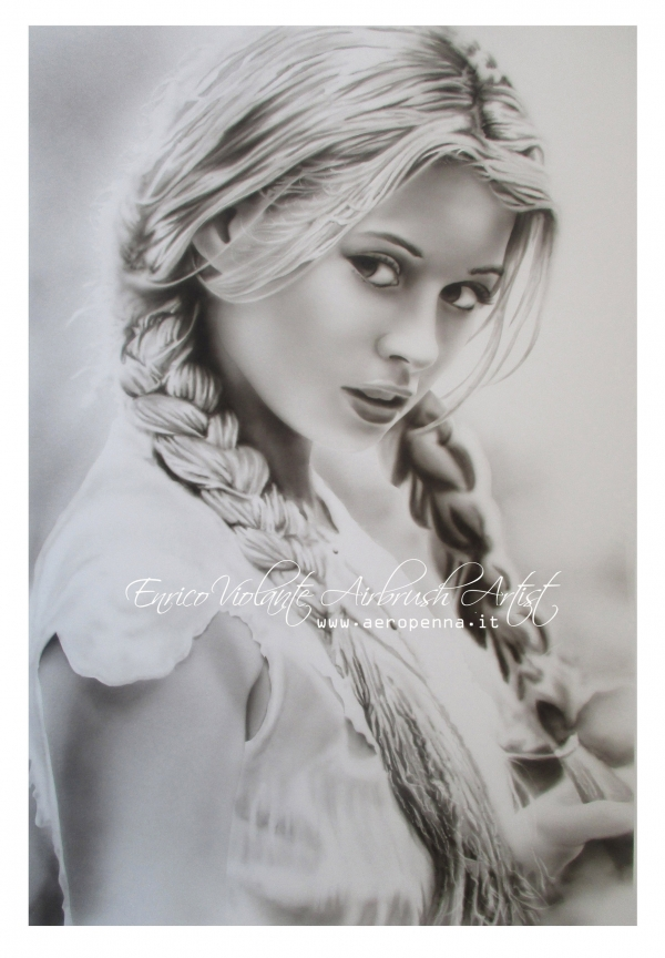 monochrome airbrush portrait