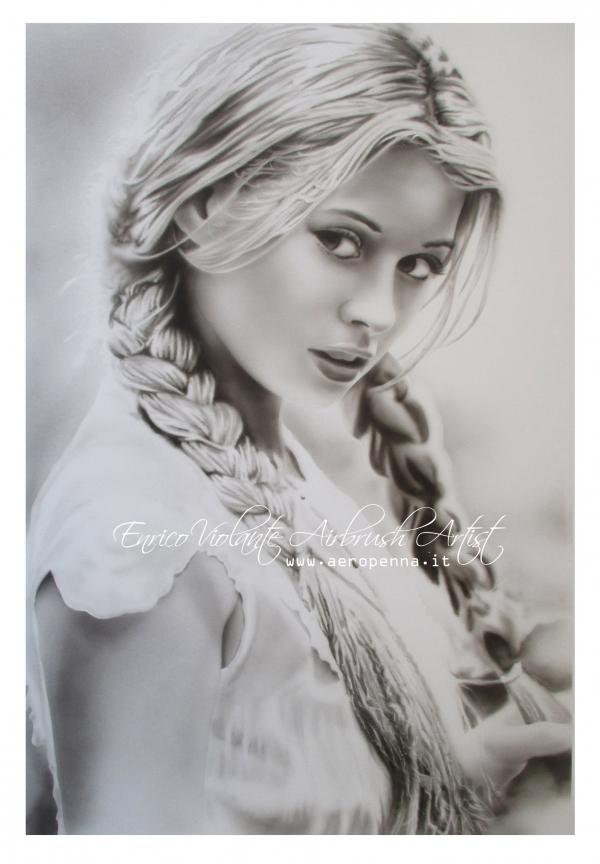 monochrome airbrush portrait