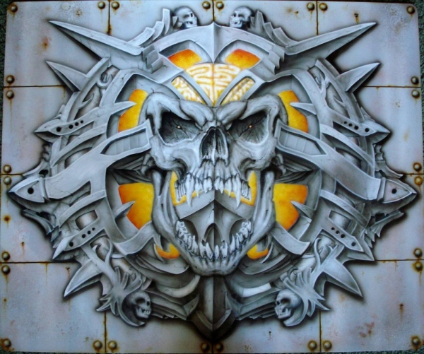 Skull with metal frame by airbrush77