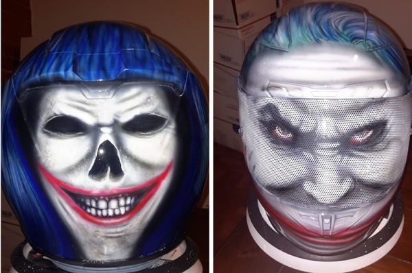 Custom painted Joker helmet