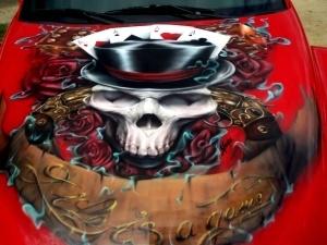 Custom Chevy SSR artwork - Aerografia su Gomme