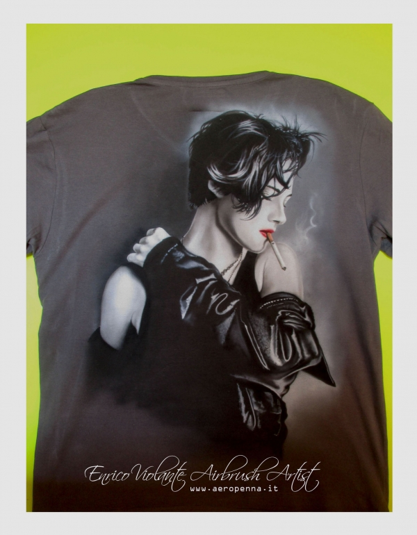 Kristen Stewart, airbrush on t-shirt