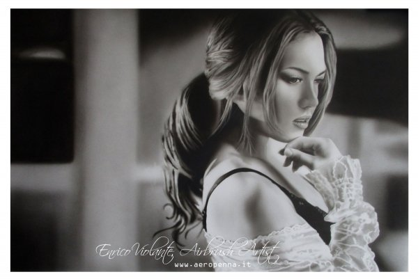 Thoughts in black and white, airbrushing on paper - Airbrush Artwoks