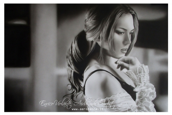 Thoughts in black and white, airbrushing on paper