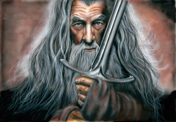 Gandalf Airbrush on watercolor paper.