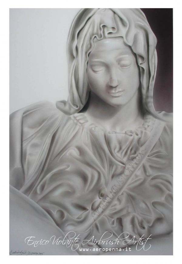 PIETA' vaticana, (1497-1499), Michelangelo Buonarroti,aerografia su carta