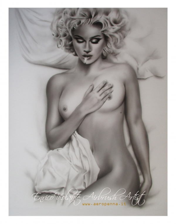 Madonna, monochrome on canvas