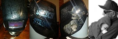 Portait welding hood in Memory of Grandfather lost.
