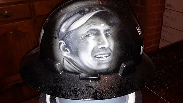 Portrait painted in memory of a Father lost. 