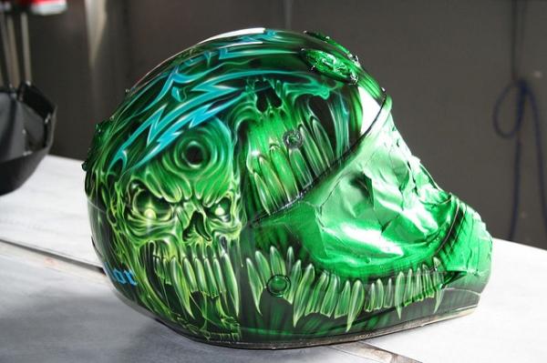 Green skulls helmet
