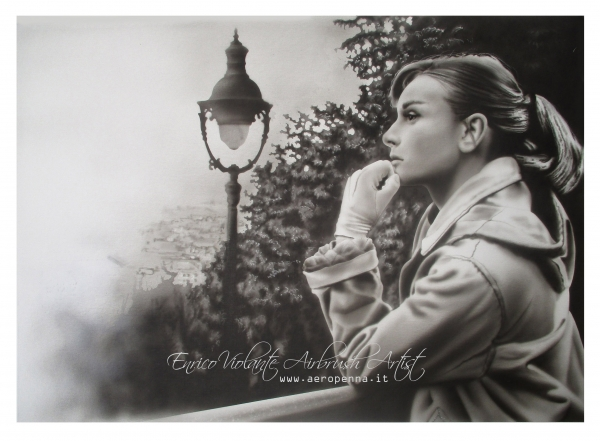 airbrush monochrome on canvas