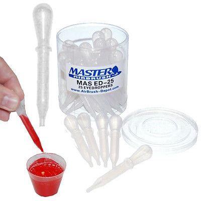 $7.69 - 25 Disposable Plastic PIPETTE EYE DROPPERS Transfer Liquids Mix Airbrush Paint