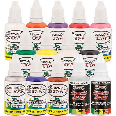 $24.95 12 - 1 oz - #Color Custom Body Art #Airbrush Paint and #Set Kit Fingernail Polish Stencil - Things To Buy