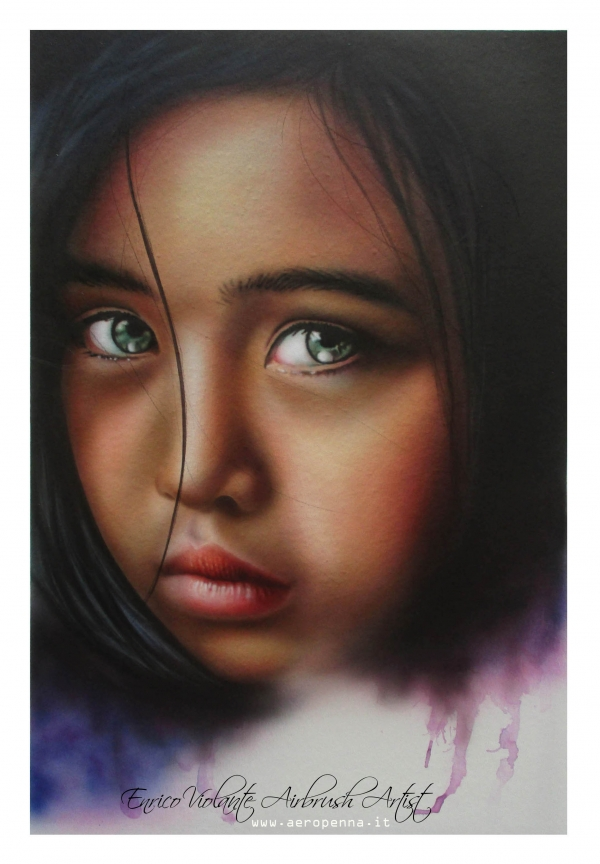 volto di bimba, airbrush on canvas