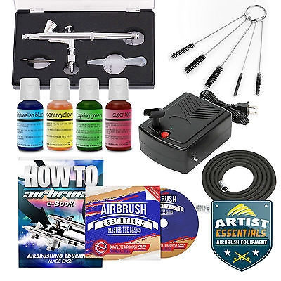 $37.82 for this #Cake Decorating #Airbrush #Kit Gravity Feed Gun Air Compressor - 4 Color Set - Airbrush on Foods