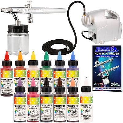 $72.46 Dual-Action #Airbrush #CAKE DECORATING AIRBRUSHING #KIT with #Set of 12 Food Colors