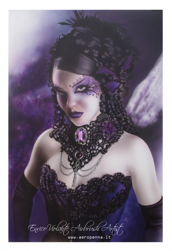 purple gothic, airbrush on cardboard
