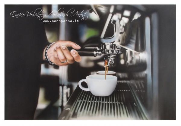 gradite un caffè?...airbrush on paper