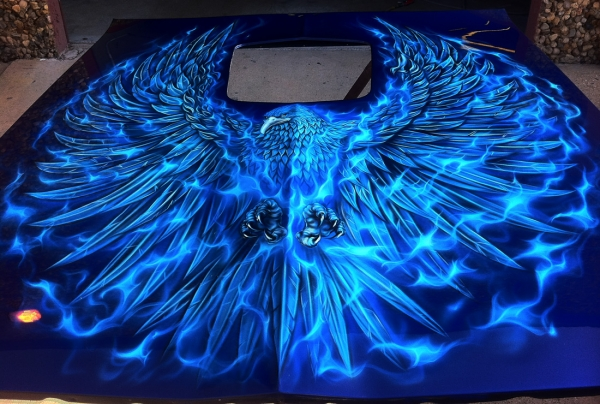 Airbrushed Trans Am Hood Phoenix Blue True Fire