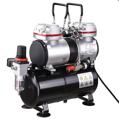 $98.96 Twin Cylinder Piston #Airbrush #Compressor w/Tank 1/3 HP Hobby T-Shirt Tattoo