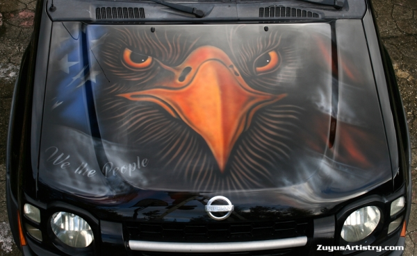 Eagle and flag on Xterra hood - Kustom Airbrush