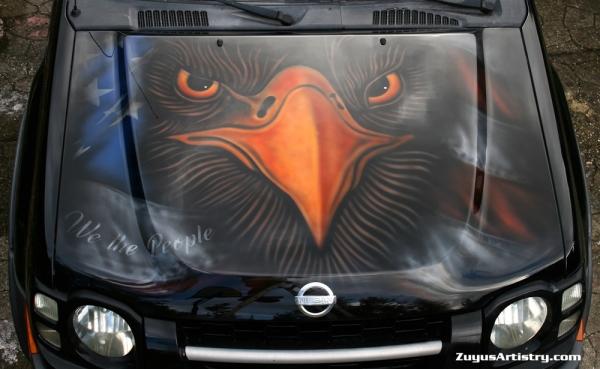 Eagle and flag on Xterra hood
