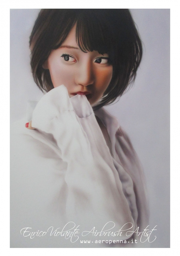 japan teen, airbrush on paper