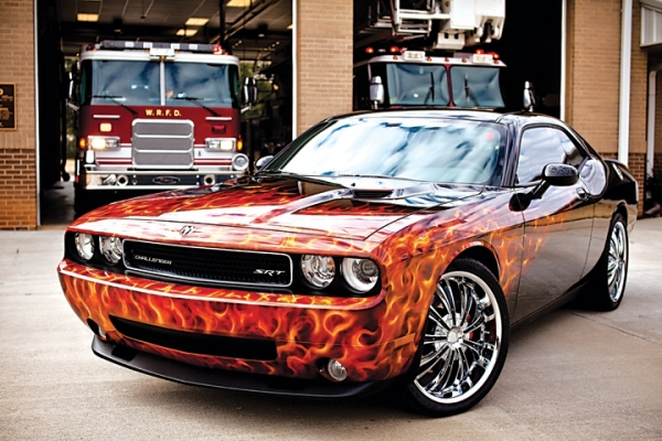 Badass Dodge Challenger & real flames