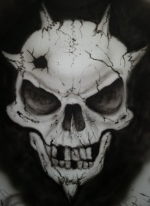 Skull I airbrushed to test my Badger Krome