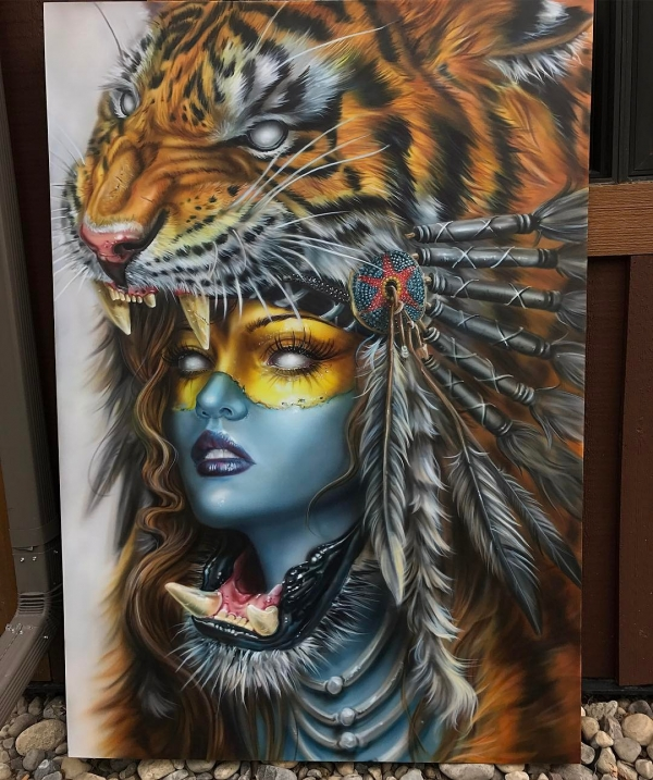 Derek Turcotte: Tiger headdress girl painting - 60x40 - Airbrush Artwoks