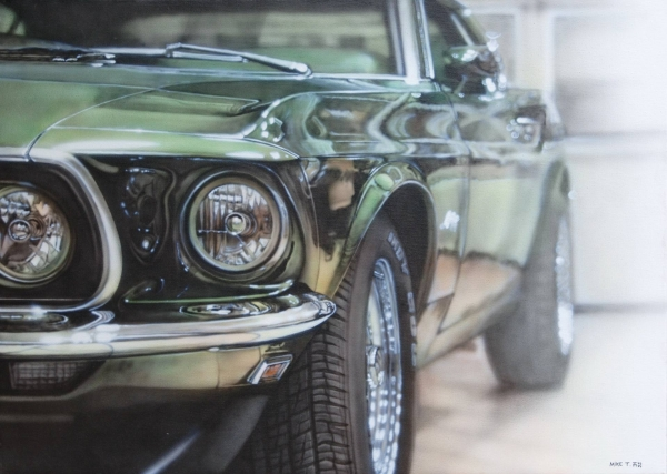 Saatchi Art: Green #Mustang Painting by Mike Paintings - Photorealism