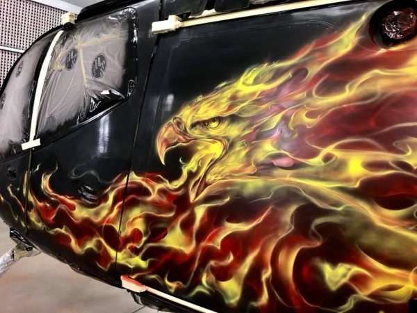 Real flames on Helicopter - Step by step