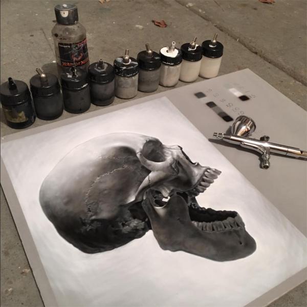 Photorealistic skull - airoilandlead.com/art.html