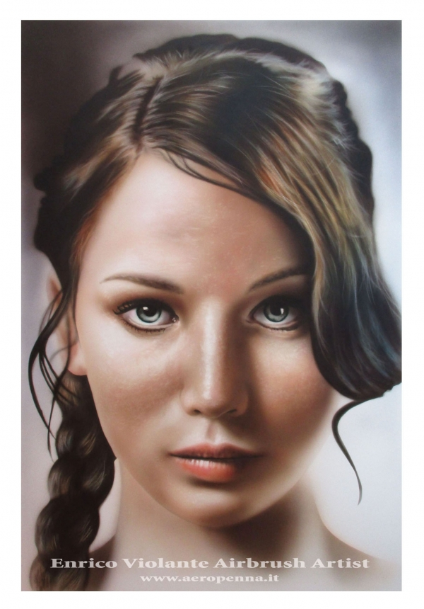 Jennifer L. airbrush on paper - Airbrush Artwoks